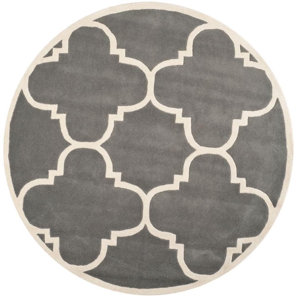 Safavieh Chatham Dark Grey Ivory 7 Ft X 7 Ft Round Area