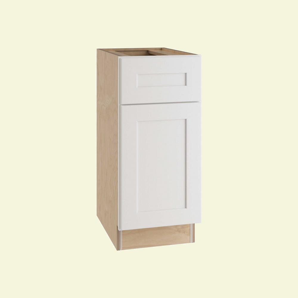 Home Decorators Collection Newport Assembled 18 in. x 34.5 in. x 24 in. Base Kitchen Cabinet with 1 Door Left Hand in Pacific White