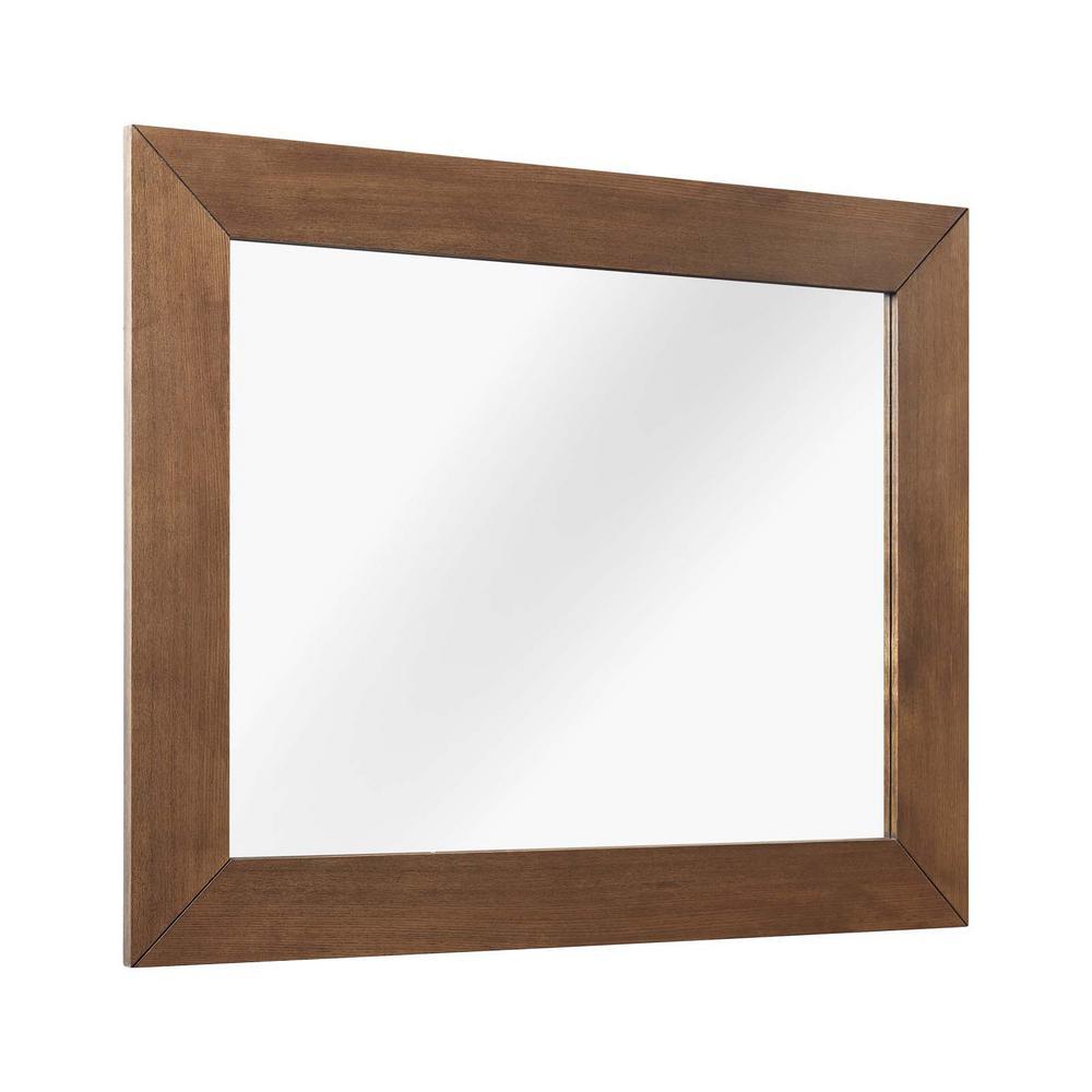 Medium Rectangle Walnut Modern Mirror (39.5 in. H x 31.5 in. W)