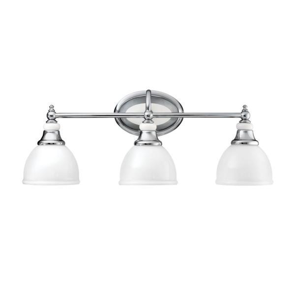 Pocelona 7 in. 3-Light Chrome Vanity Light with Etched Glass Shade