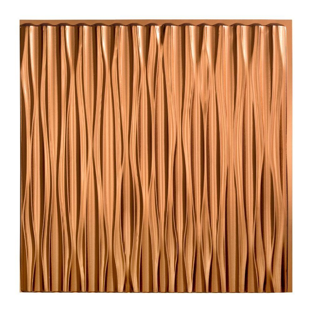 Fasade Dunes Vertical - 2 ft. x 2 ft. Glue-up Ceiling Tile in Oil Rubbed Bronze