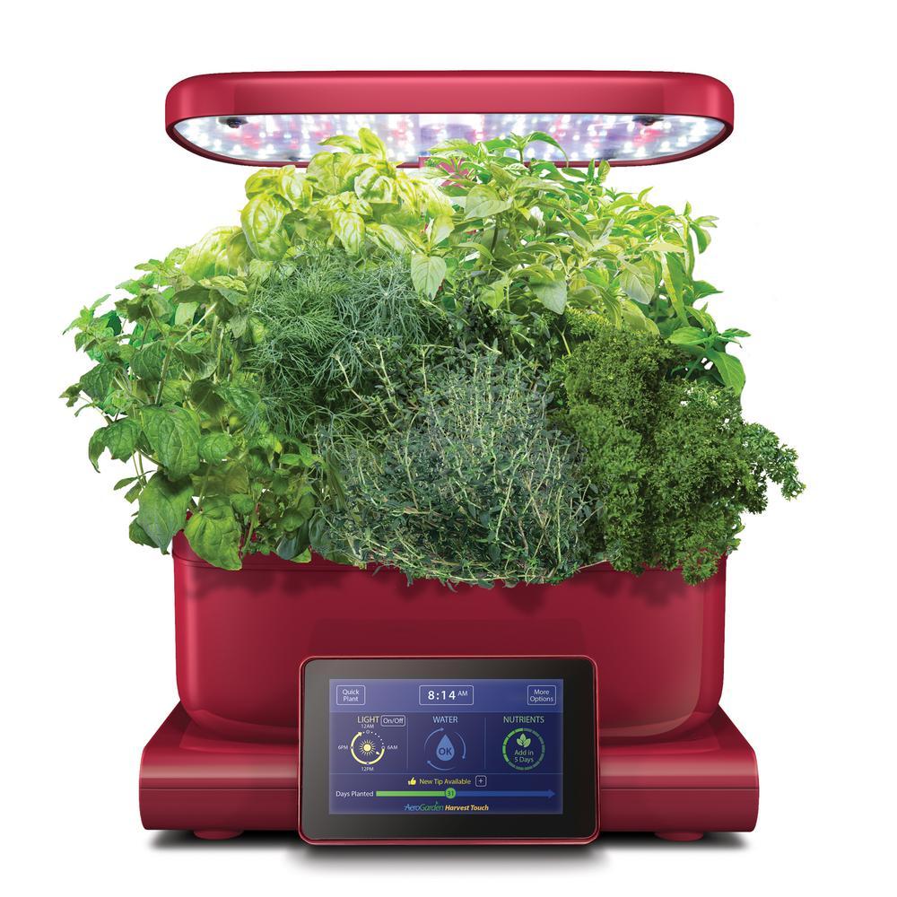 AeroGarden Harvest Touch Indoor Hydroponic Garden Kit in Red