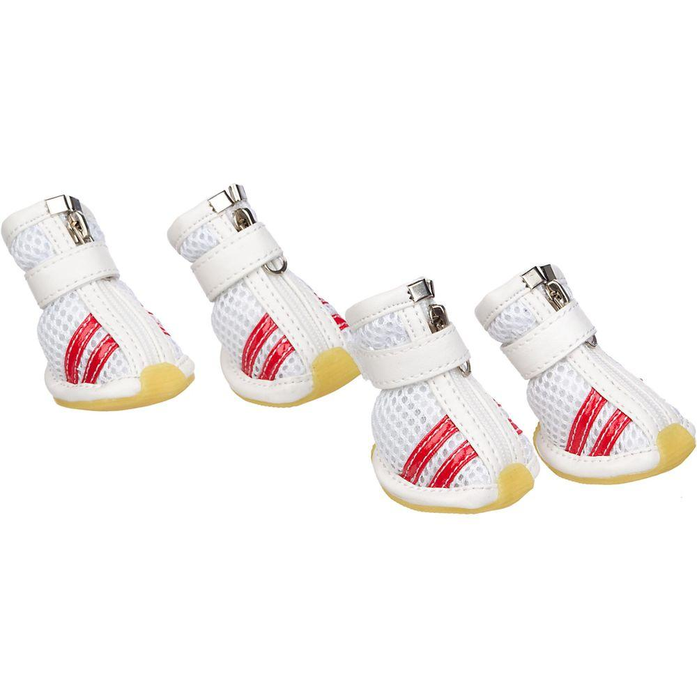 PET LIFE Small White and Red Spring Mesh Shoes (Set of 4)