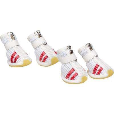 X-Small White and Red Spring Mesh Shoes (Set of 4)