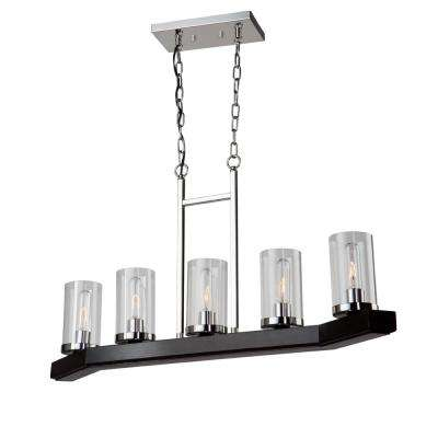 5-Light Dark Wood and Chrome Billiard Light