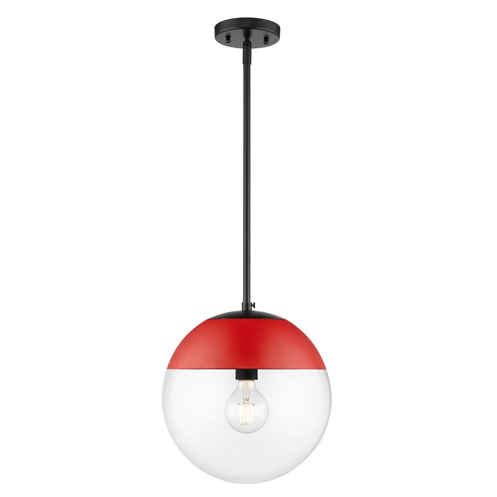 Golden Lighting Dixon 1-Light Black with Clear Glass and Red Cap Pendant Light