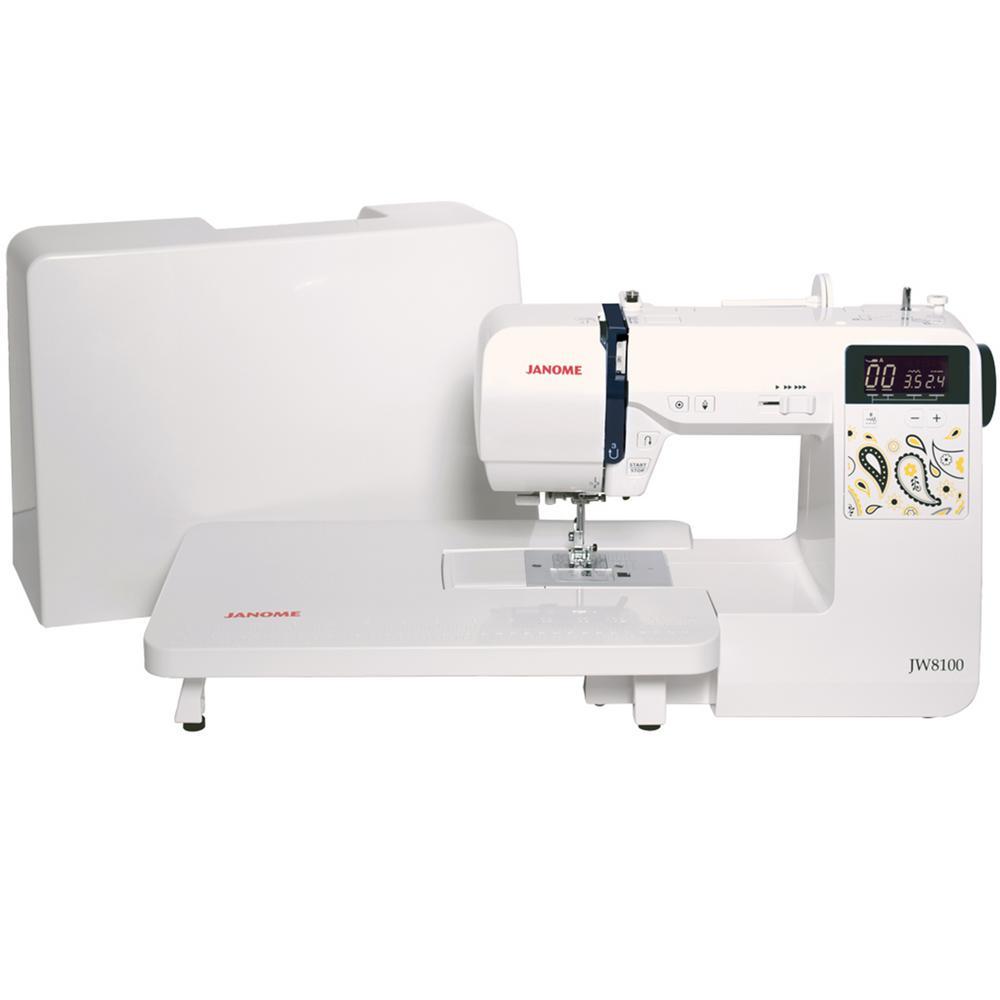 Janome JW8100 100-Stitch Sewing Machine with Bonus Accessories, White Janome JW8100 100-Stitch Sewing Machine with Bonus Accessories, White