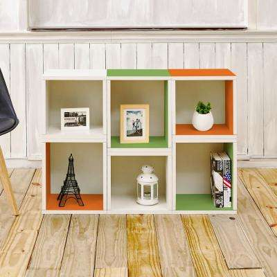 Arlington White & Green & Orange Stackable Modular Open BookcaseEco zBoard Tool Free Assembly
