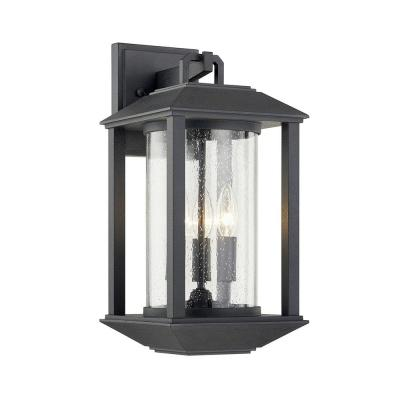 Mccarthy Weathered Graphite 3-Light Wall Sconce with Clear Seeded Glass Shade