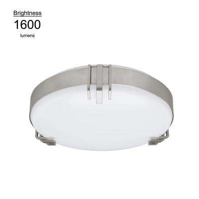 15 in. Round Mission 100 Watt Equivalent Brushed Nickel Integrated LED Flushmount