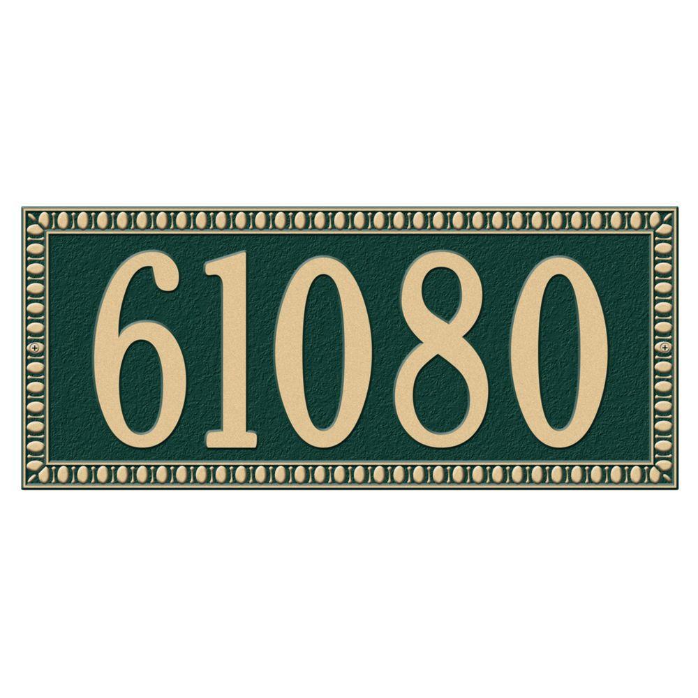 Egg and Dart Rectangular Green/Gold Estate Wall One Line Address Plaque