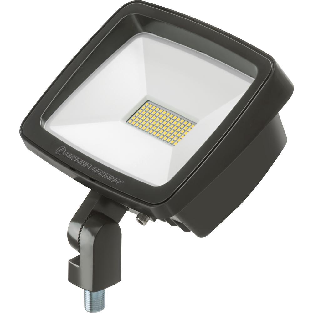 Contractor Select TFX1 Series 54-Watt Bronze Knuckle Mount Integrated LED Outdoor Flood Light