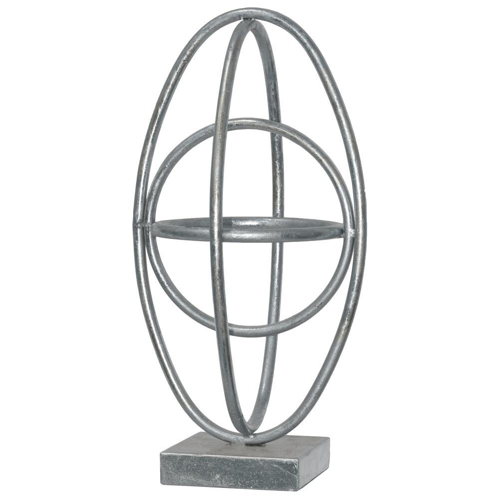 15.25 in. H Sculpture Decorative Sculpture in Silver Leaf