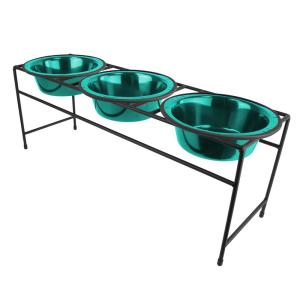 Platinum Pets Platinum Pets 6.25 Cup Triple Modern Diner Feeder with Dog Bowls, Caribbean Teal by Platinum Pets
