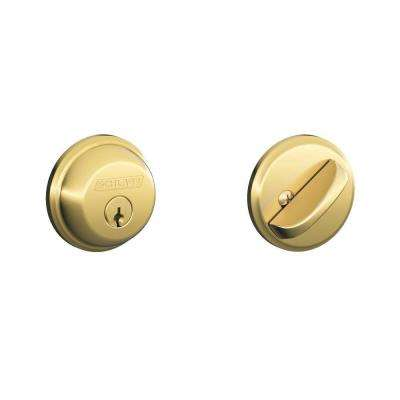 Bright Brass Single Cylinder Deadbolt (2-Pack)