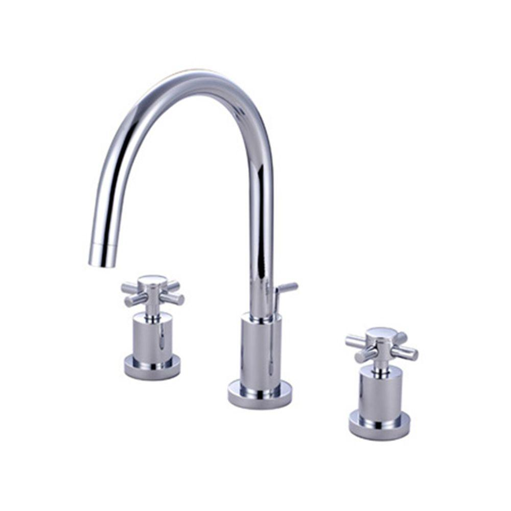 Kingston Brass 8 In Widespread 2 Handle Mid Arc Bathroom Faucet In Polished Chrome Hkb961 The