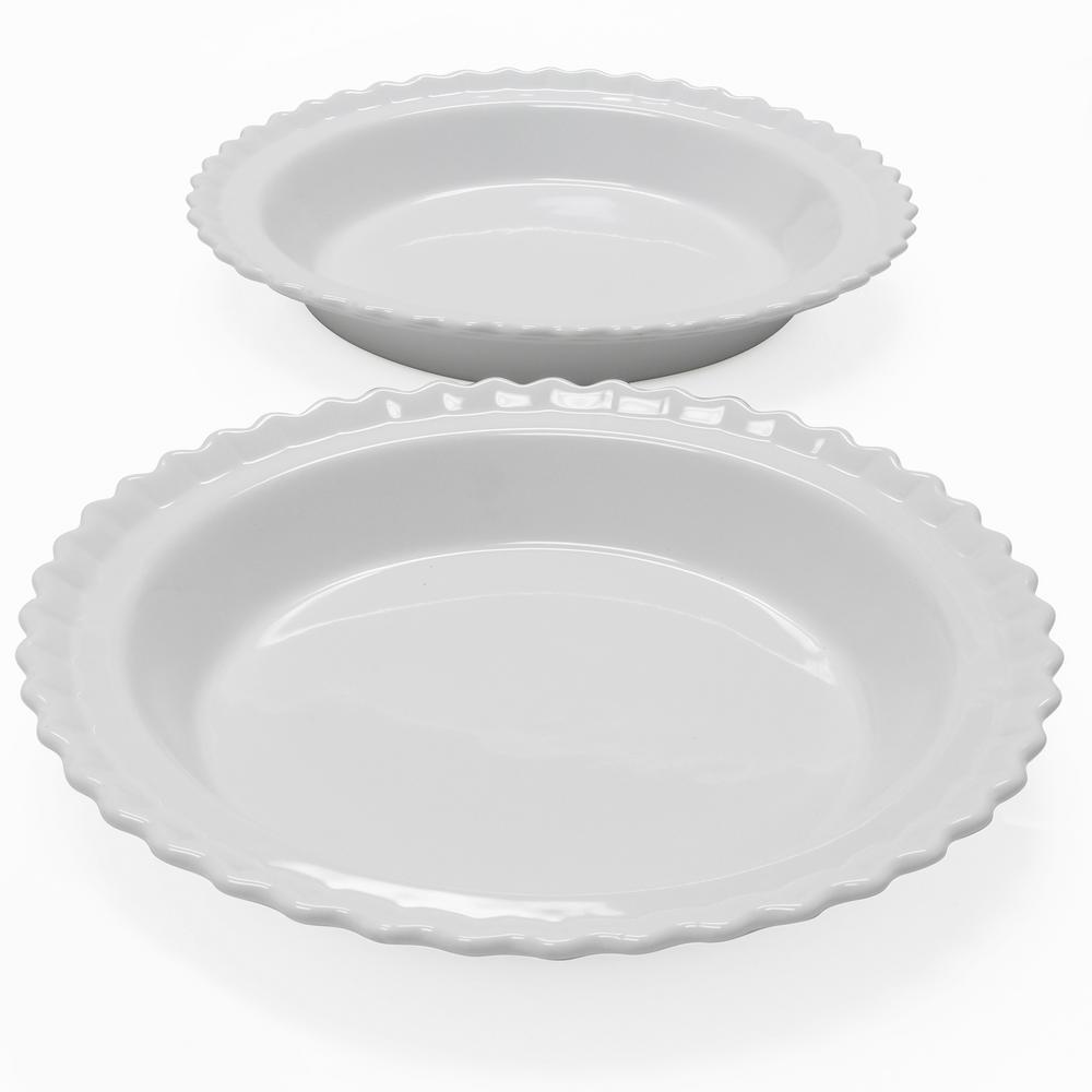 Classic 9 in. Glossy White Round Ceramic Pie Dish (2-Pack)
