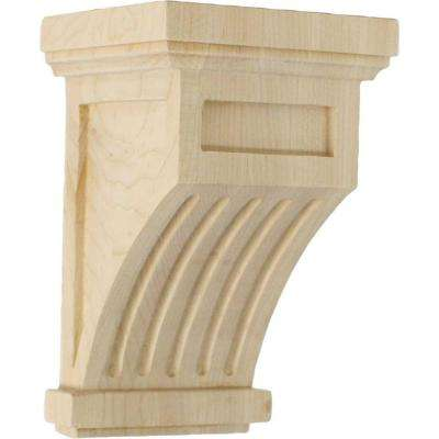 4-1/4 in. x 4-1/4 in. x 7 in. Rubberwood Fluted Corbel
