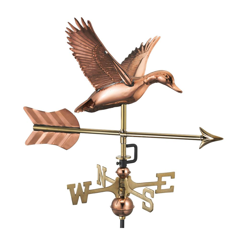 Flying Duck with Arrow Cottage Weathervane-Pure Copper with Roof Mount