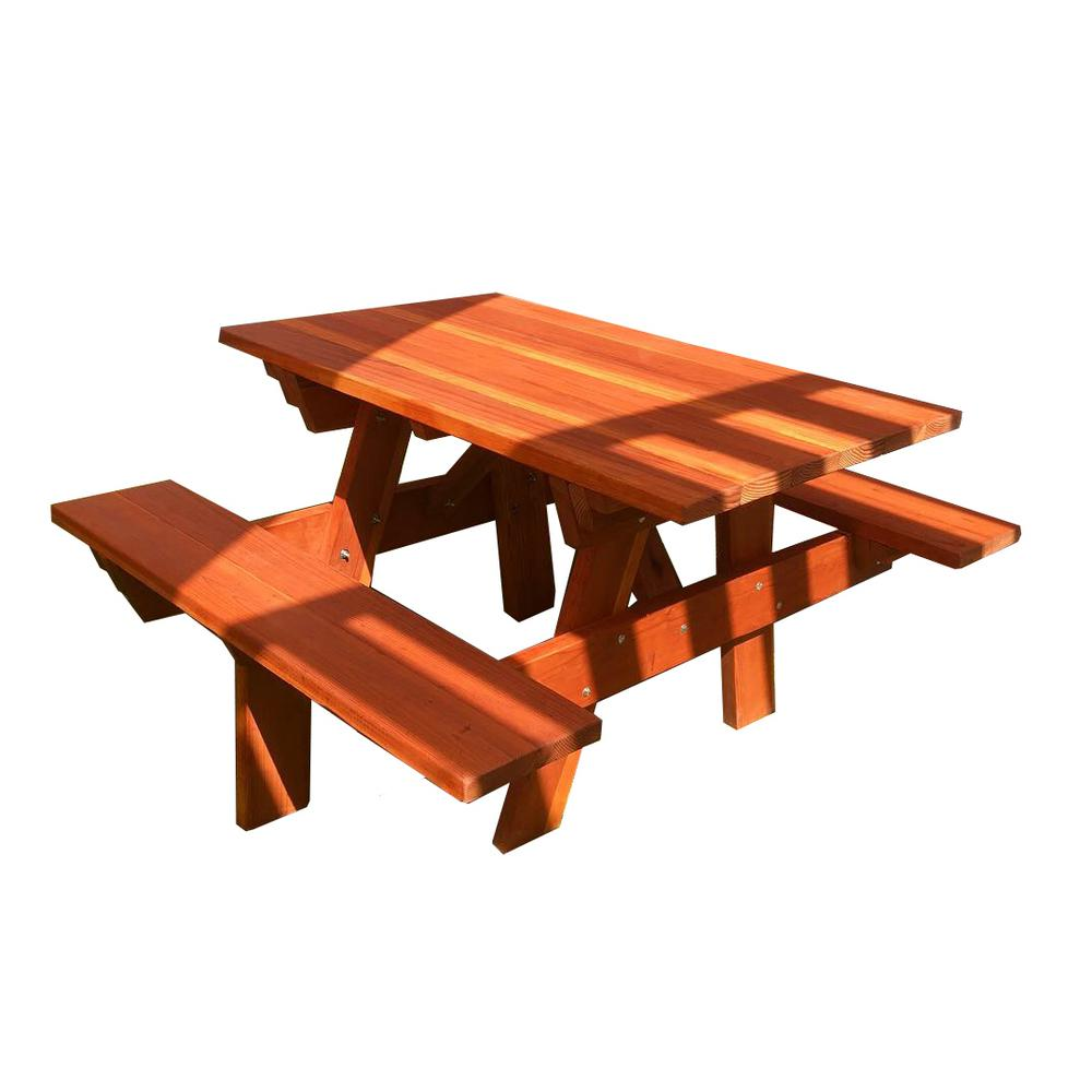 Superb Outdoor 1905 Super Deck 4 Ft Redwood Picnic Table With Attached Benches Spiritservingveterans Wood Chair Design Ideas Spiritservingveteransorg
