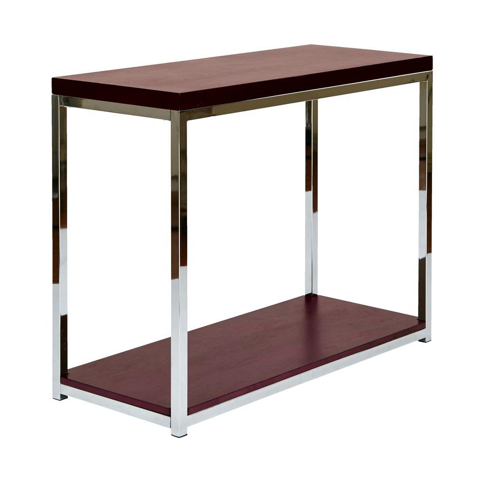 Ave Six Wall Street Chrome and Espresso Console TableWST07 The