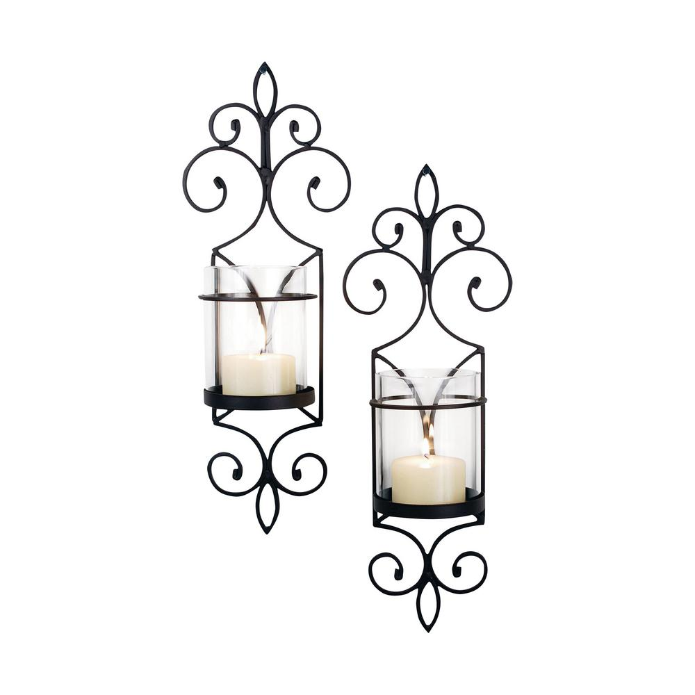 Titan Pentaro 18 in. Rustic Iron And Clear Glass Wall Sco...