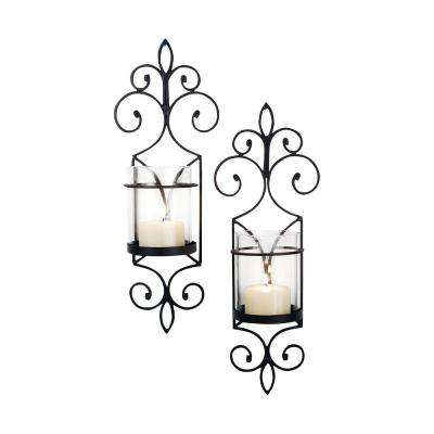 Pentaro 18 in. Rustic Iron And Clear Glass Wall Sconce Candle Holders (Set of 2)