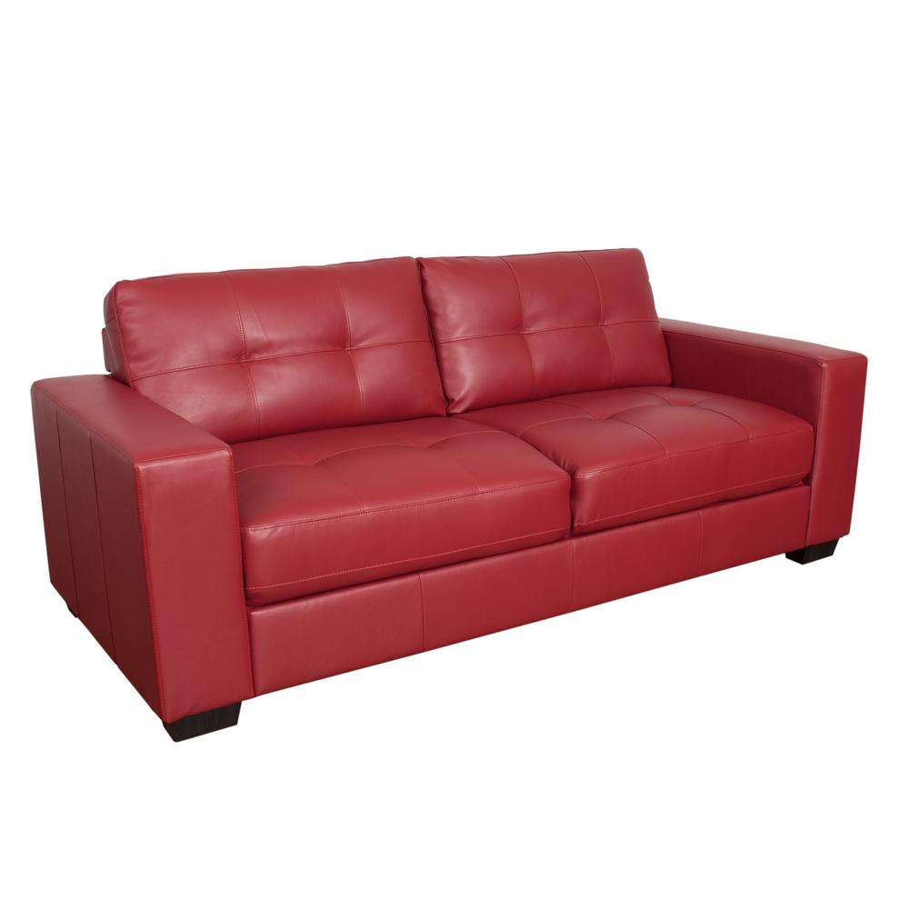 Corliving Club Tufted Red Bonded Leather Sofa