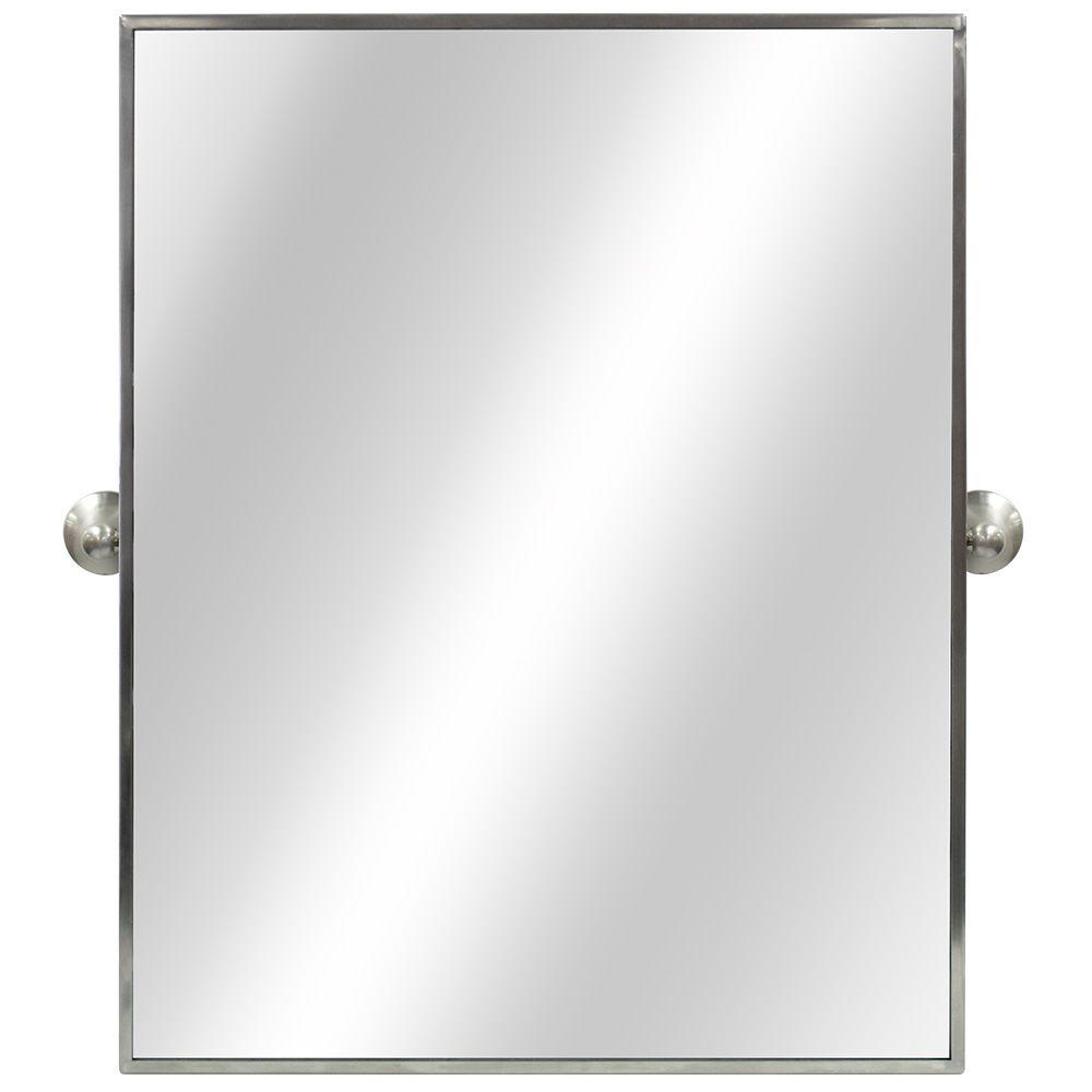 Home Decorators Collection 22 In W X 28 In H Framed Rectangular Anti Fog Bathroom Vanity Mirror In Brushed Silver Finish 81160 The Home Depot