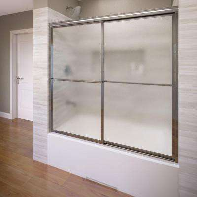 Deluxe 59 in. x 58-1/2 in. Obscure Framed Sliding Door in Silver