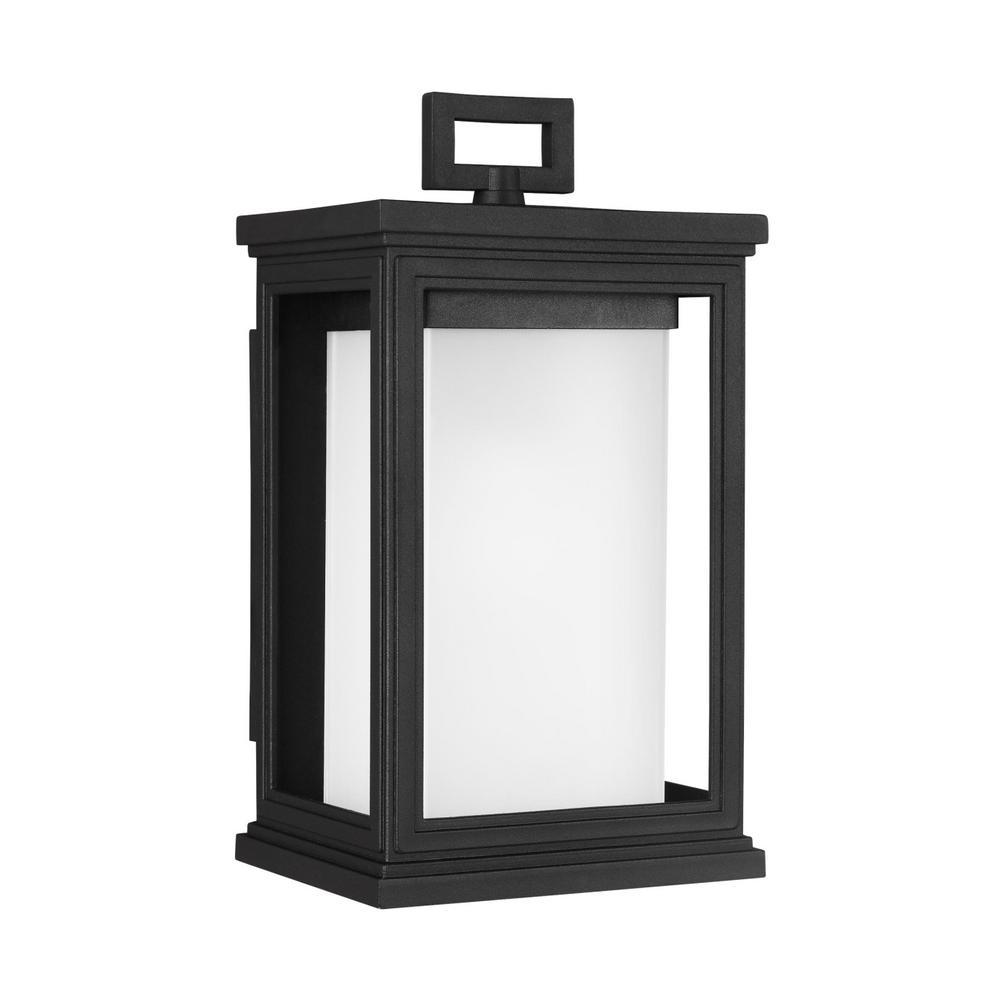 Roscoe 1-Light Textured Black Outdoor Wall Lantern