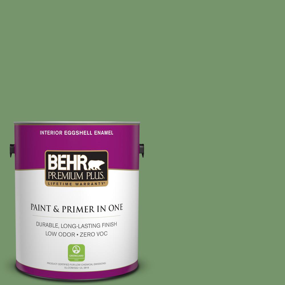 1 gal. #PPU11-03 Botanical Green Zero VOC Eggshell Enamel Interior Paint