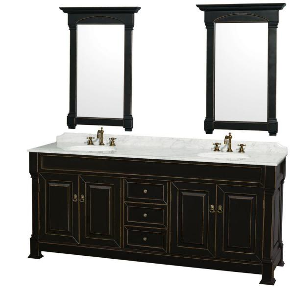 Andover 80 in. Vanity in Black with Marble Vanity Top in Carrara White with Porcelain Sink and Mirrors