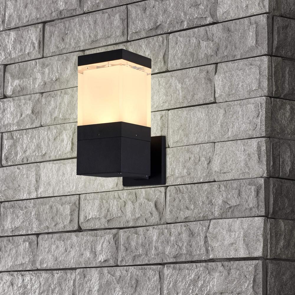 5-Watt Matt Black Integrated LED Outdoor Wall Lantern Sconce