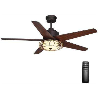 Pemberton 52 in. LED Indoor Oil Rubbed Bronze Ceiling Fan with Light Kit and Remote Control