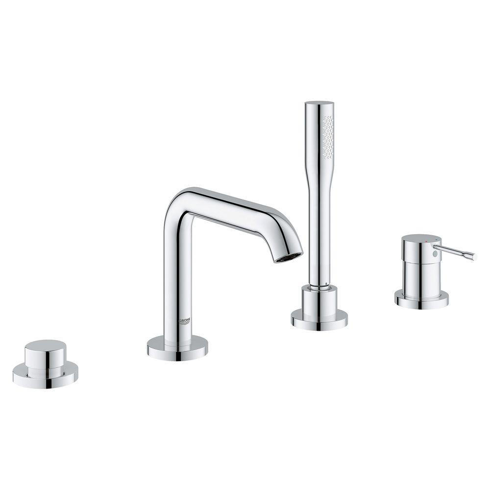 GROHE Essence New Single-Handle Deck-Mount Roman Bathtub Faucet with ...