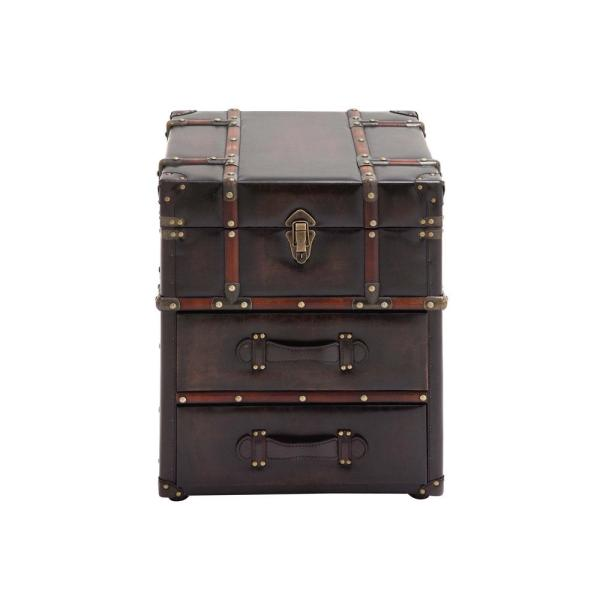 Undefined Espresso Brown Steamer Trunk Side Table