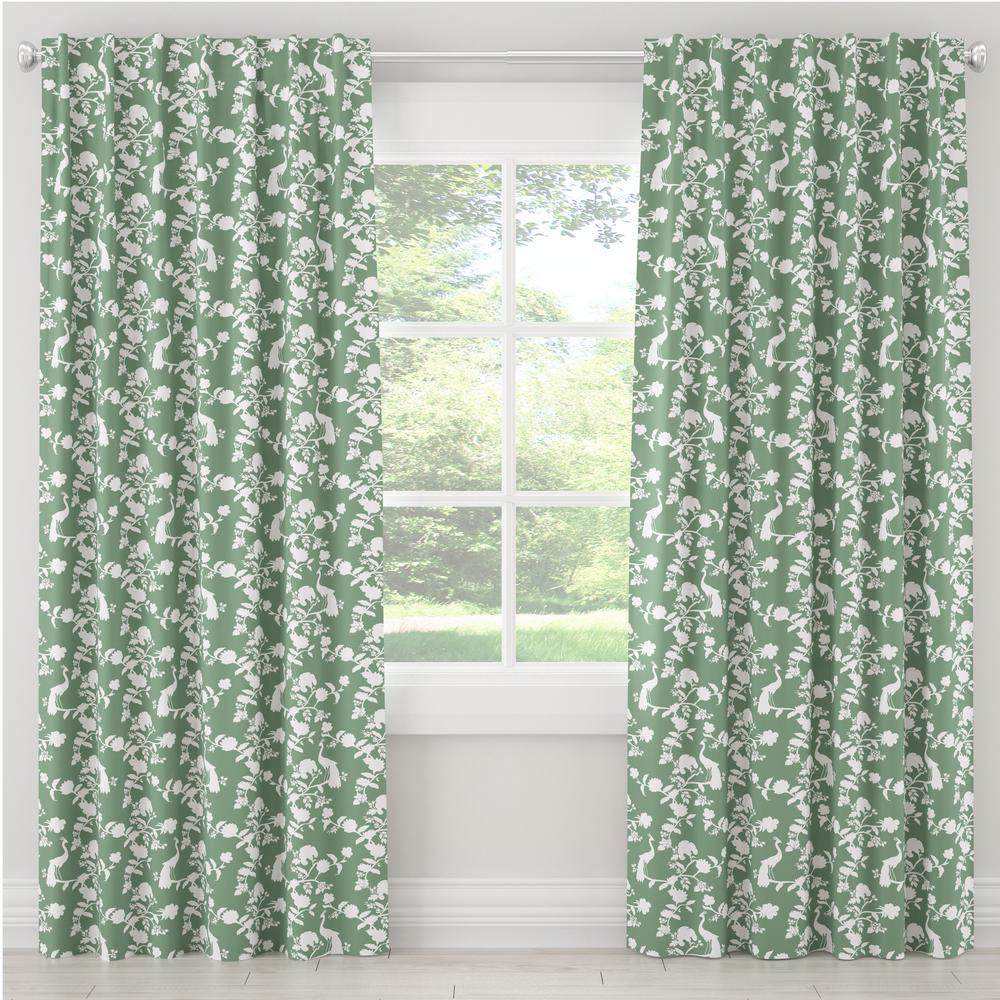 Skyline Furniture 50 in. W x 63 in. L Blackout Curtain in Peacock Silhouette Green