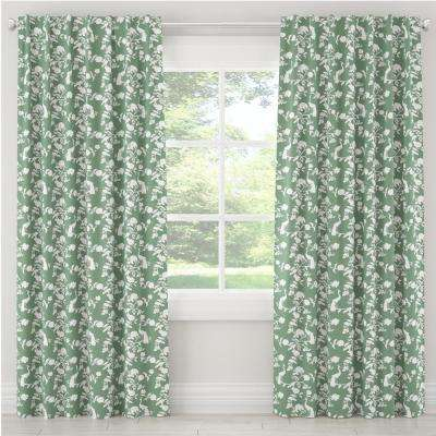 50 in. W x 120 in. L Blackout Curtain in Peacock Silhouette Green