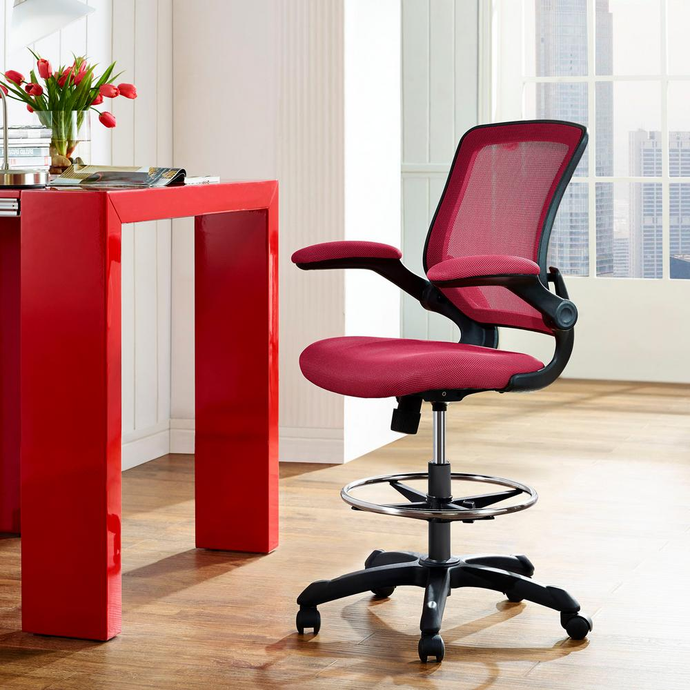 Modway Veer Drafting Stool In Red Eei 1423 Red The Home