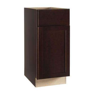 Shaker Assembled 15x34.5x24 in. Base Kitchen Cabinet with Ball-Bearing Drawer Glides in Java