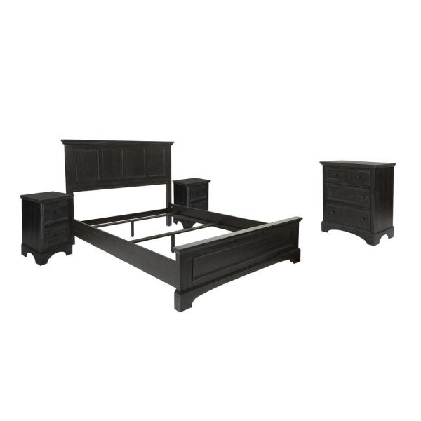 Farmhouse Basics Rustic Black Finish Queen Bed with 2-Nightstands and 1-Chest of Drawers