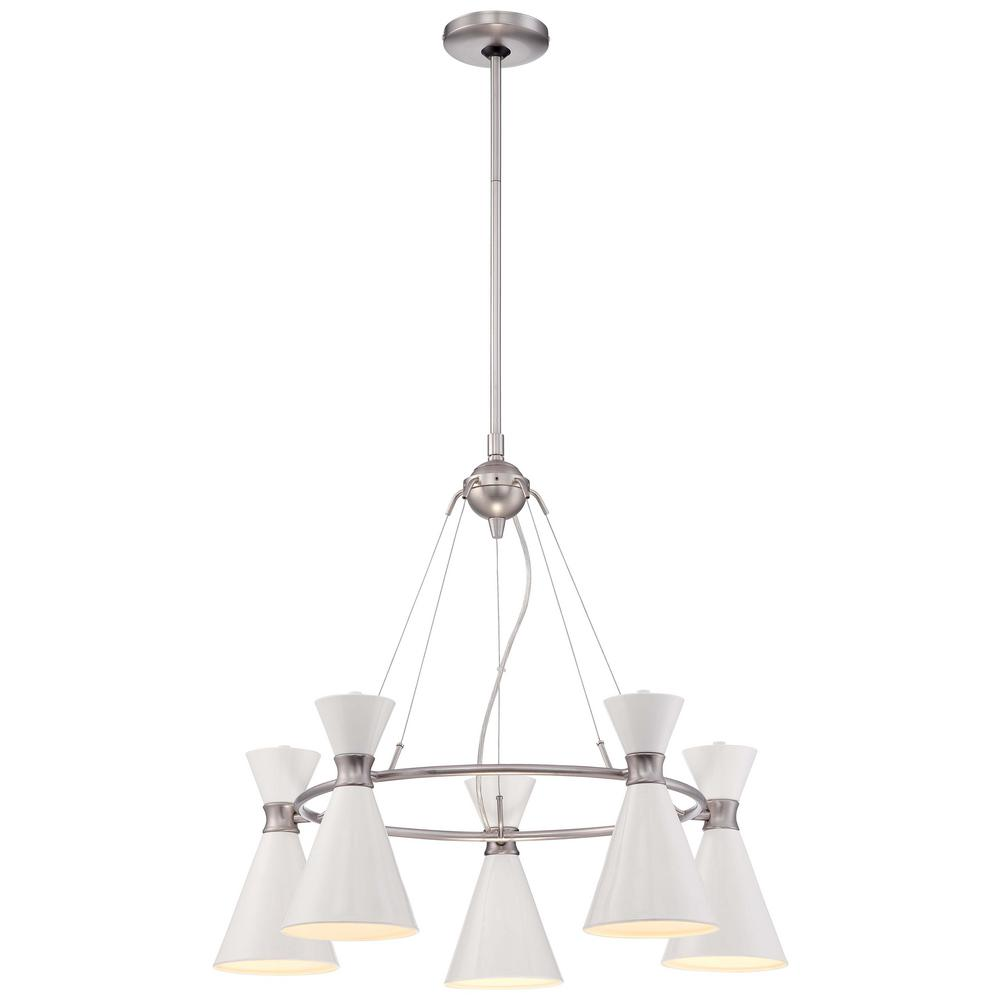 Conic 5-Light Brushed Nickel Mini Chandelier with Glitter Gloss White Shade