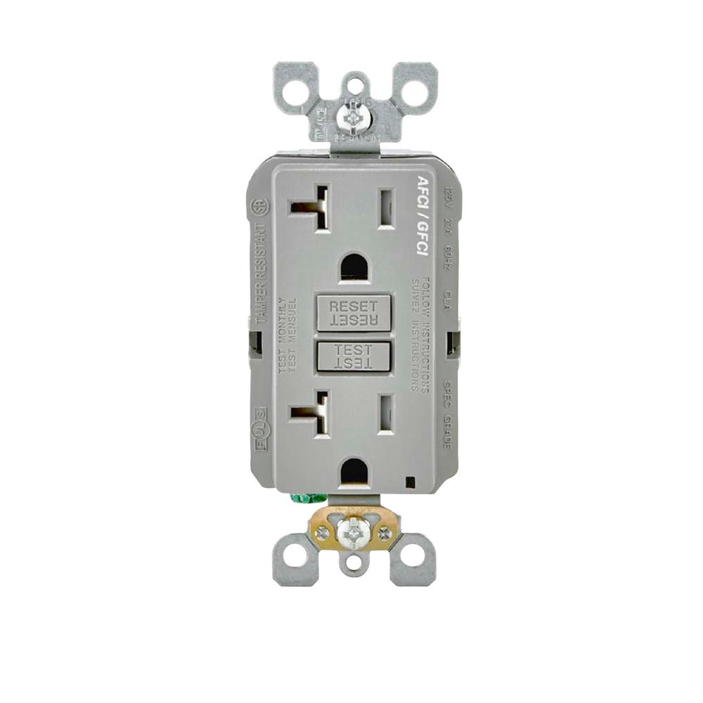 Ge 20 Amp Backyard Outlet With Switch And Gfi Receptacle U010s010grp Wiring A From Gfci 125 Volt Afci Dual Function Gray