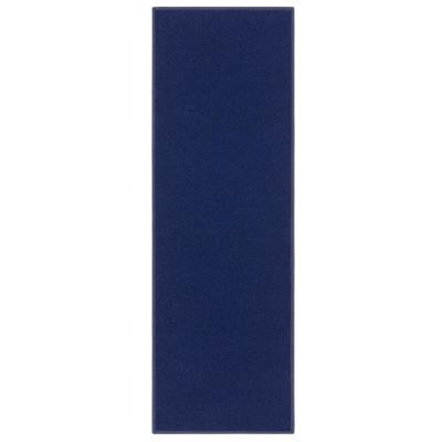 Ottohome Collection Solid Design Navy Blue 20 in. x 59 in. Runner Rug