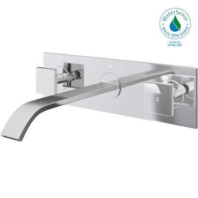 Titus Dual Lever 2-Handle Wall-Mount Bathroom Faucet in Chrome