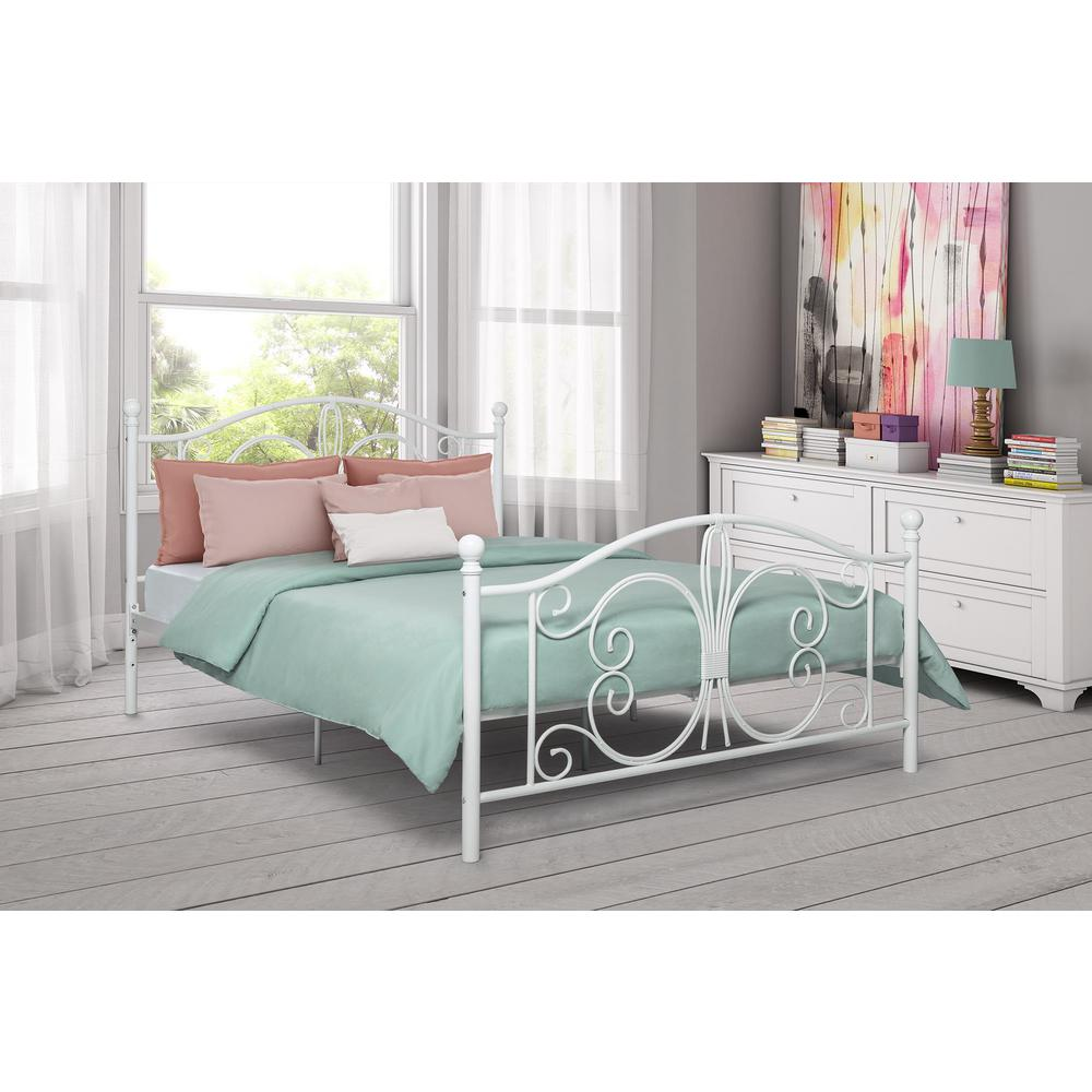 official photos 77ba3 1b34a DHP Bombay White Full Bed Frame 3246198 - The Home Depot