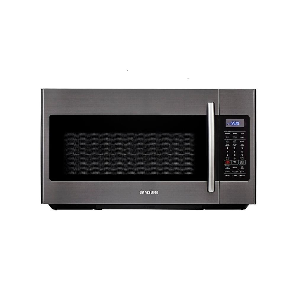 Samsung 30 In W 1 8 Cu Ft Over The Range Microwave Fingerprint Resistant Black Stainless With Sensor Cooking
