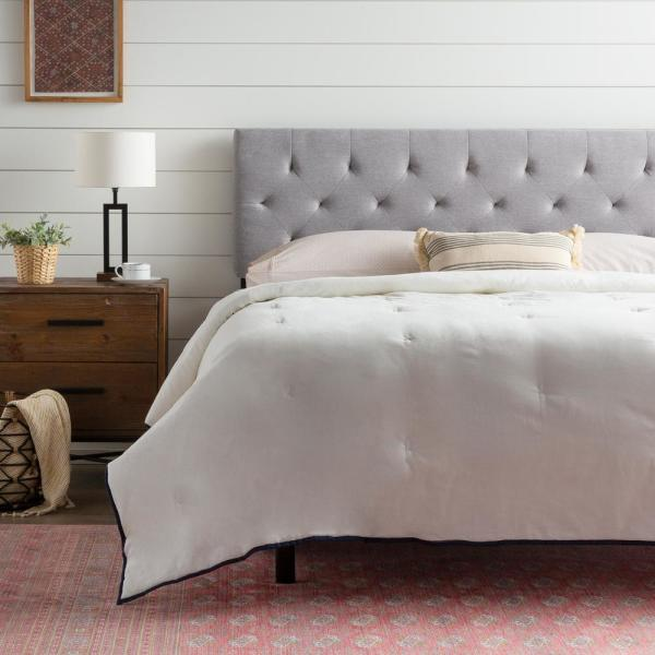 Emmie Adjustable Stone King/Cal King Upholstered Headboard