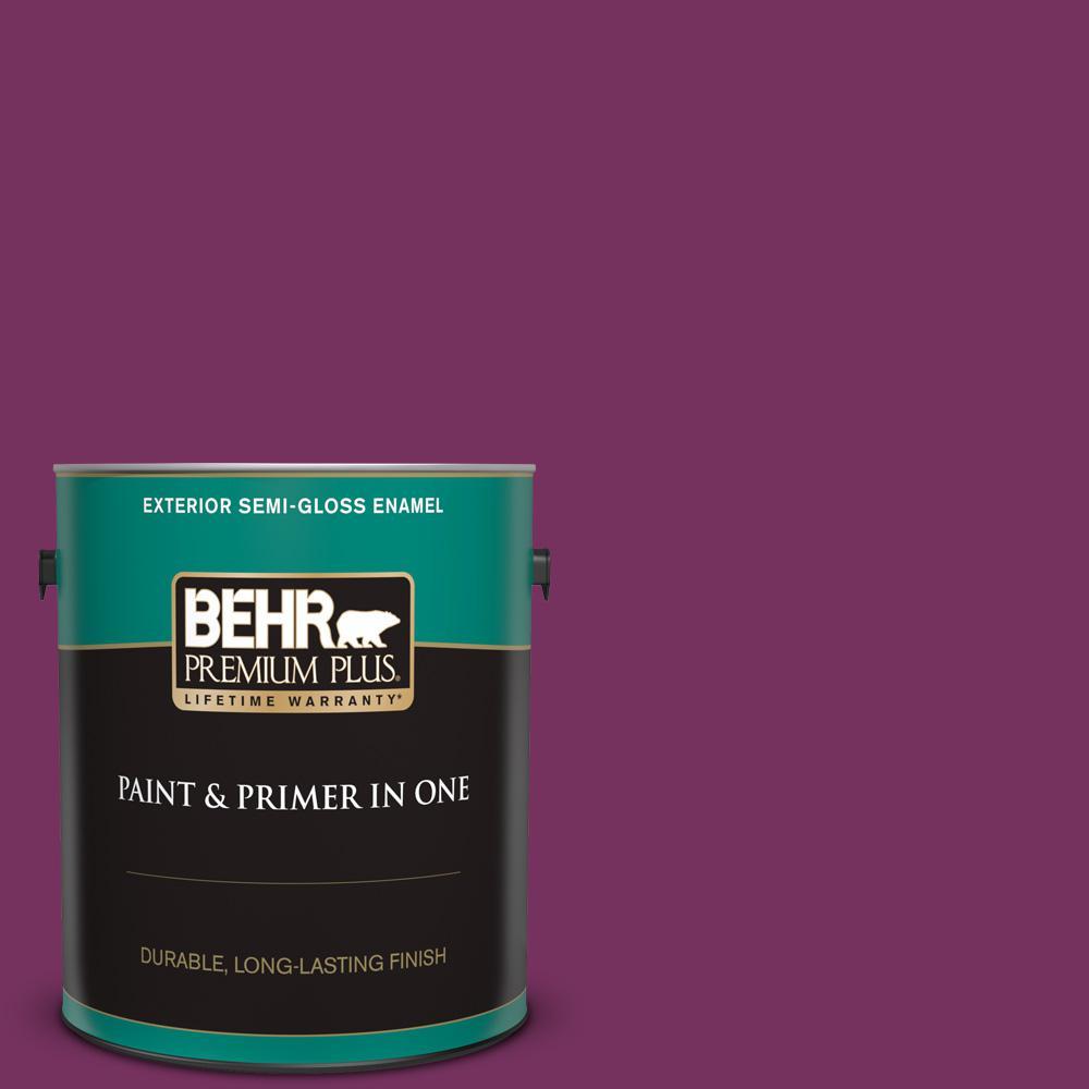 Behr Premium Plus 1 Gal 690b 7 Plum Jam Semi Gloss Enamel Exterior Paint And Primer In One 534001 The Home Depot